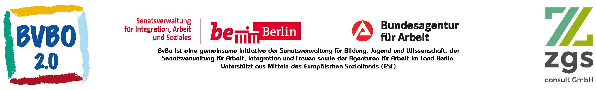 Die Finanzierung des Programmes BVBO 2.0 kommt aus Mitteln des Landes Berlin und der Arbeitsagenturen des Landes Berlin.